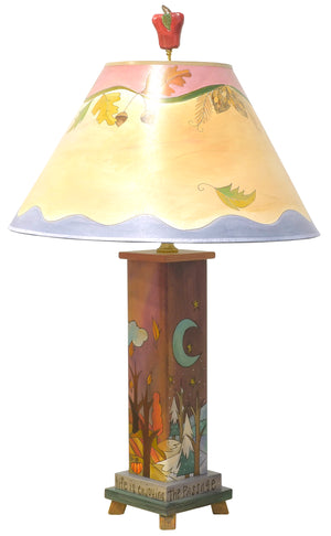 "Box Table Lamp –  ""The secret to life is enjoying the passage of time"" four seasons lamp base with coordinating seasonal vine shade reverse view"