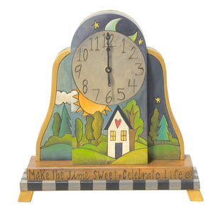 Mantel Clock –  Lovely landscape themed clock design with vine around edge and heart accent on the back main view