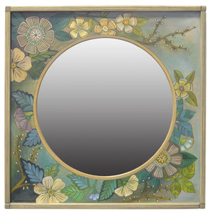 Square Mirror –  Beautiful blue, green, and ivory botanical mirror with flowers and willow branches