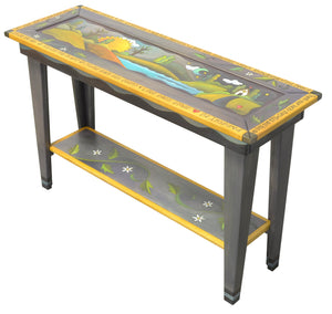 4ft Sofa Table –  Lovely blue/grey sofa table with landscape scene filling the tabletop main view
