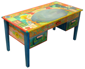 Large Desk –  Beautiful vibrant patchwork and tree of life desk motif with soaring birds over the writing area main view