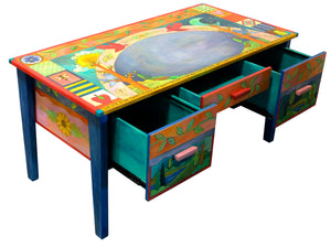 Large Desk –  Beautiful vibrant patchwork and tree of life desk motif with soaring birds over the writing area view with open drawers