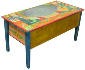 Large Desk –  Beautiful vibrant patchwork and tree of life desk motif with soaring birds over the writing area back view