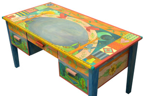 Large Desk –  Beautiful vibrant patchwork and tree of life desk motif with soaring birds over the writing area side view