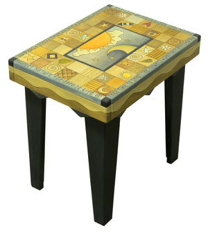 Rectangular End Table –  Beautiful patchwork table design with a celestial center in a neutral color palette main view