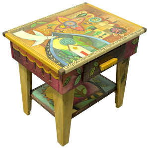 Nightstand with Open Shelf –  Bohemian style nightstand with eclectic symbols, patchwork, and a home-y landscape scene main view