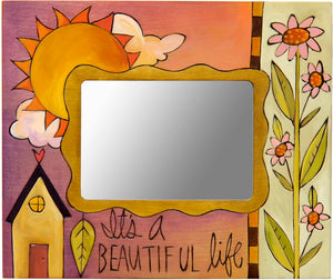 "5""x7"" Frame –  ""It's a beautiful life"" frame with a pink sky background and sweet little pink flowers"