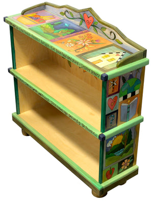 Short Bookcase –  Colorful crazy quilt design with cute heart and star vine accents main view