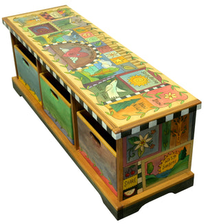 "Storage Bench with Boxes –  Crazy quilt bench motif with a central heart with wings icon reminding you to ""follow your heart"" main view"