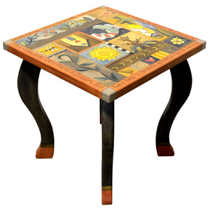 Large Square End Table –  Beautiful neutral, muted crazy quilt end table design main view