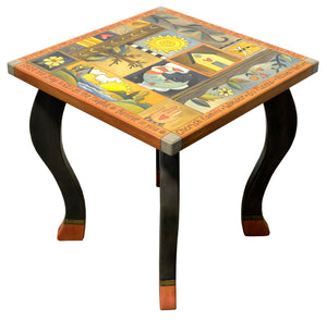 Large Square End Table –  Beautiful neutral, muted crazy quilt end table design side view
