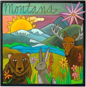 "10""x10"" Plaque –  Wildlife ""Montana"" plaque motif with furry animals in a mountainous landscape main view"