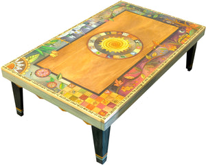 Rectangular Coffee Table –  Gorgeous four seasons themed tabletop design with sun in its center and mixed vines, landscape scenes, and patchwork motifs main view