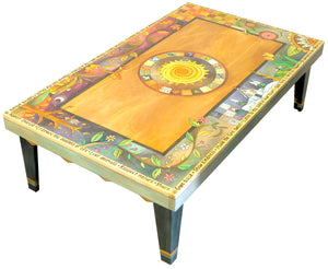 Rectangular Coffee Table –  Gorgeous four seasons themed tabletop design with sun in its center and mixed vines, landscape scenes, and patchwork motifs side view
