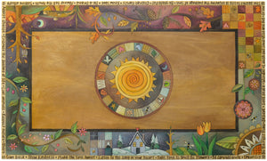 Rectangular Coffee Table –  Gorgeous four seasons themed tabletop design with sun in its center and mixed vines, landscape scenes, and patchwork motifs top view