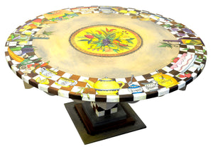 "60"" Round Dining Table –  Buffet of various food and drinks motif on a brown and white checked border and produce spray in the center top view"
