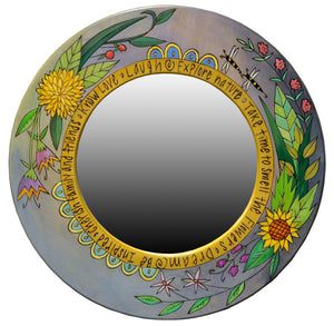 Small Circle Mirror –  Beautiful cool-toned contemporary floral motif mirror