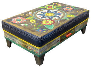 Ottoman with Drawer –  Beautiful contemporary floral ottoman motif with large blue center medallion main view