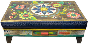 Ottoman with Drawer –  Beautiful contemporary floral ottoman motif with large blue center medallion front view