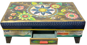 Ottoman with Drawer –  Beautiful contemporary floral ottoman motif with large blue center medallion front view with drawer open