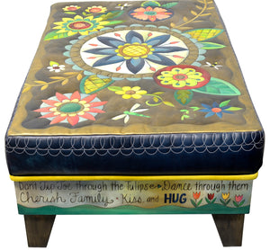 Ottoman with Drawer –  Beautiful contemporary floral ottoman motif with large blue center medallion side view
