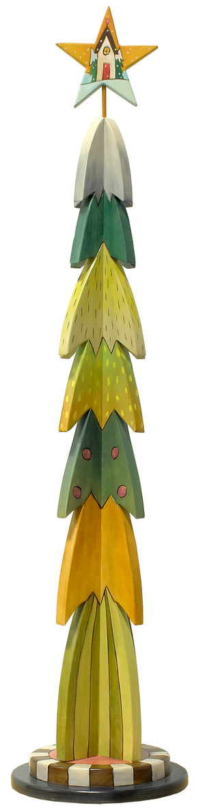 Large Christmas Tree Sculpture –  Christmas tree with layers of greens and yellows in a retro palette main view
