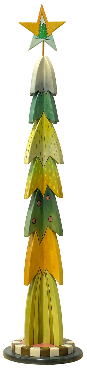 Large Christmas Tree Sculpture –  Christmas tree with layers of greens and yellows in a retro palette reverse view