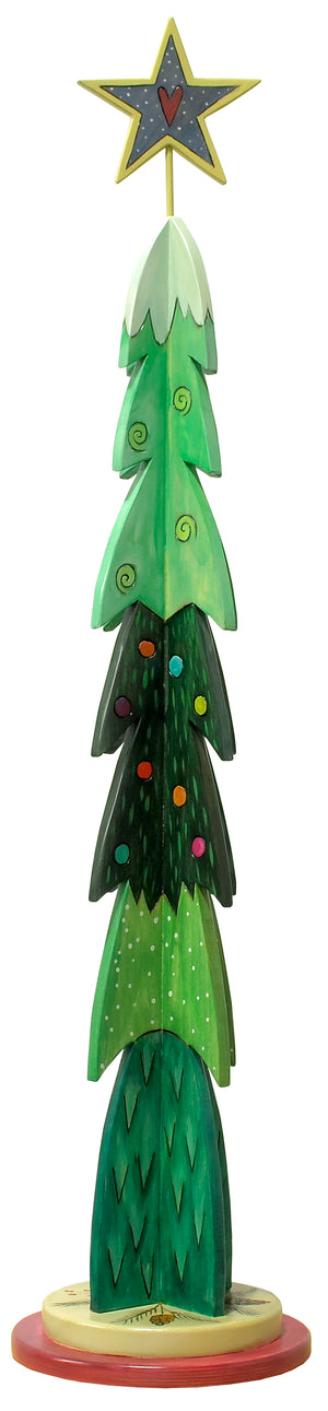 Large Christmas Tree Sculpture –  Fun and funky layered green Christmas tree with blanket of snow on the top main view