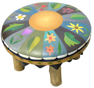 Round Ottoman –  Charming floral and leaf ottoman design in a pie piece layout main view