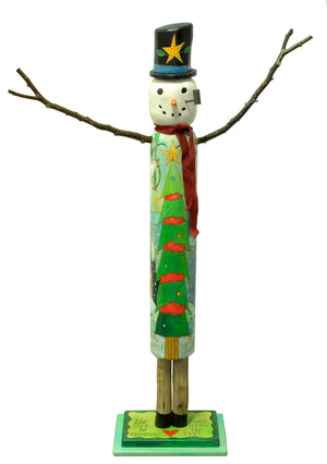 "Large Snowman Sculpture –  Colorful ""go out for adventure, come home for love"" snowman painted in varying greens with a Christmas tree on his front front view"