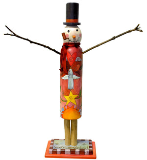 "Medium Snowman Sculpture –  Warm-toned stacked icon snowman sculpture with ""winter wonderland"" written on his base front view"