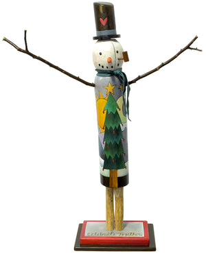 "Medium Snowman Sculpture –  Friendly ""celebrate together"" snowman with a giant Christmas tree on his body front view"