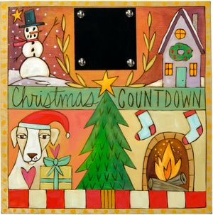 "Christmas Countdown Plaque –  Warm toned ""Christmas Countdown"" plaque with four holiday scenes and a Christmas tree"