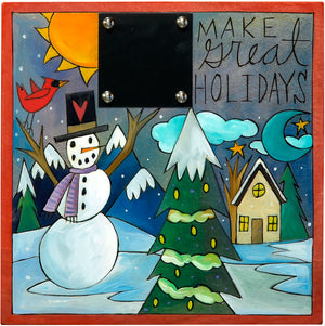 "Christmas Countdown Plaque –  ""Make great holidays"" countdown plaque with a blue, snowy winter scene"