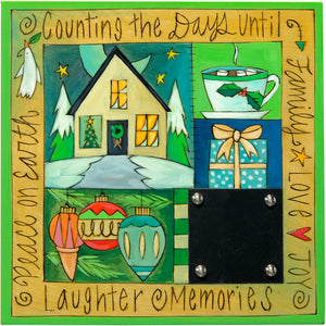 "Christmas Countdown Plaque –  ""Counting the days until..."" crazy quilt countdown plaque in a green palette"