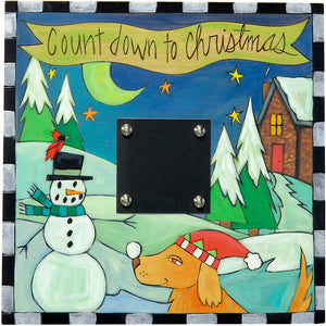 "Christmas Countdown Plaque –  ""Countdown to Christmas"" plaque with a dog building a snowman"