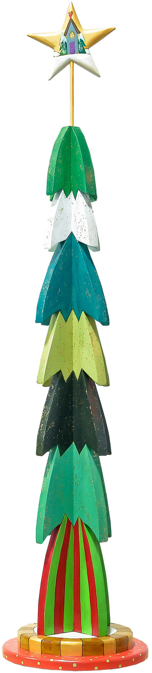 Large Christmas Tree Sculpture –  Vibrant stacked layer tall Christmas tree with festive glitter all over front view