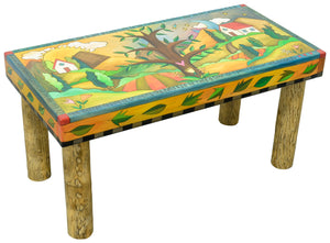 3' Bench –  Tree of life motif bench nestled among rolling hills and white houses main view