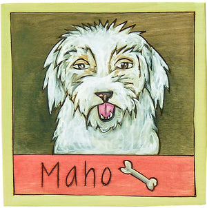 "7""x7"" Plaque – Cute and fluffy ""Maho"" dog plaque motif"