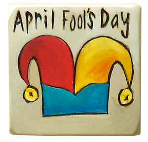 "Large Perpetual Calendar Magnet –  Playful jester hat ""April Fool's Day"" magnet"