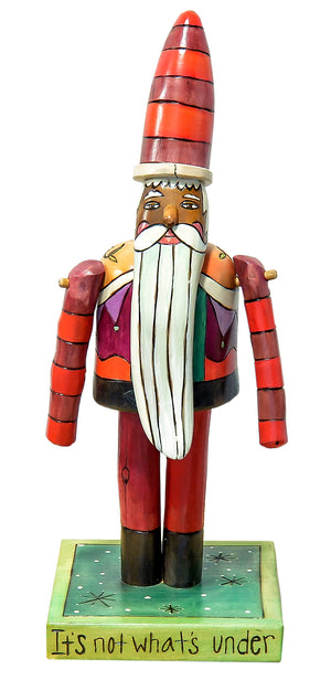 Extra Small Santa Sculpture –  Red and maroon striped little Santa sculpture front view