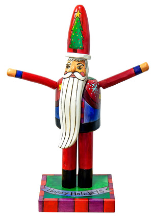 "Extra Small Santa Sculpture –  Floating icon ""Happy Holidays"" Santa with outstretched arms front view"