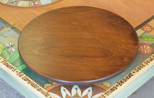 "20"" Lazy Susan –  A lovely, simple walnut stained lazy susan, this would balance perfectly with a busy Sticks table with rich tones! displayed on a Sticks table"