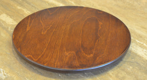 "20"" Lazy Susan –  A lovely, simple walnut stained lazy susan, this would balance perfectly with a busy Sticks table with rich tones! displayed on countertop"