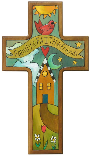 "Cross Plaque –  Charming ""family, faith, and friends"" home motif available now"