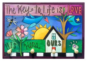 "Key Ring Plaque –  ""Love"" key ring plaque theme with designated pegs for everyone in the family"