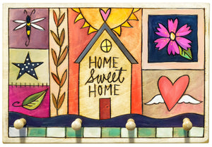 "Key Ring Plaque –  Light and bright ""home sweet home"" crazy quilt key holder plaque motif"