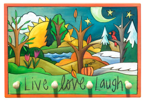 "Key Ring Plaque –  Joyful ""live love laugh"" four seasons key ring plaque design"