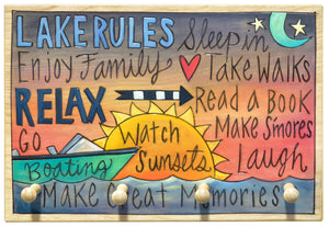 "Key Ring Plaque –  ""Make great memories"" at the lake key rack"