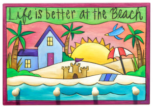 Key Ring Plaque –  Vibrant tropical theme key ring plaque with a beachfront home
